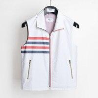 2020 Fashion TB THOM Brand Spring Autumn Vest Striped White Cotton Casual Jacket Men Slim Turn Down Collar Coat Sleeveless