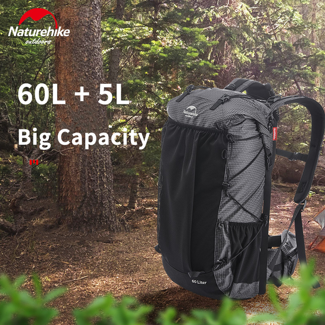 Naturehike 60L+5L backpack Hiking Climbing Backpacking 1160g Rain Cover 1