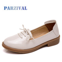 PARZIVAL Women Boat Shoes Women Ballet Shoes Loafers Cut Out Slip On Leather Breathable Moccasins Work Shoes Ladies Casual Shoes(China)