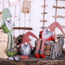 Striped Cloth Santa Claus Doll Christmas Goblin Pendant Doll Christmas Tabletop Plush Doll