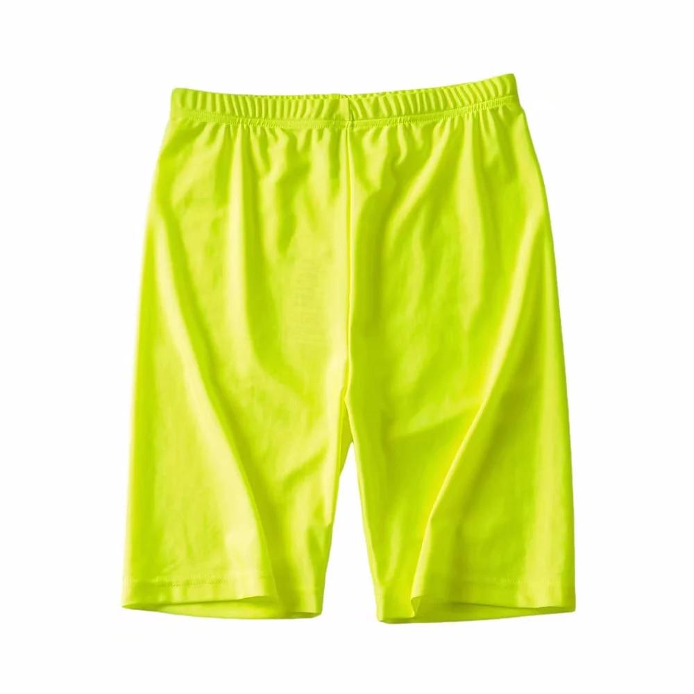 Unique Womens Neon Biker Shorts Super Strethcy Skinny Bodycon Punk Shorts Reflective Fluorescent Green Summer Shorts Orange 2019
