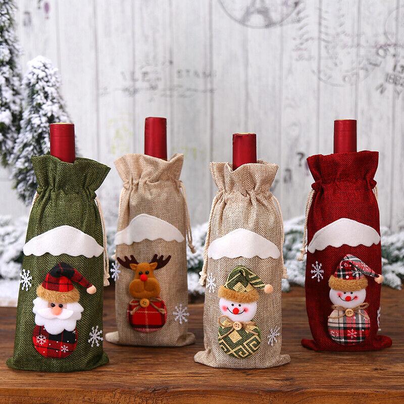craft*diy 1 Père Noël Bouteille De Vin Sac Housse Dîner Fête Décoration Table