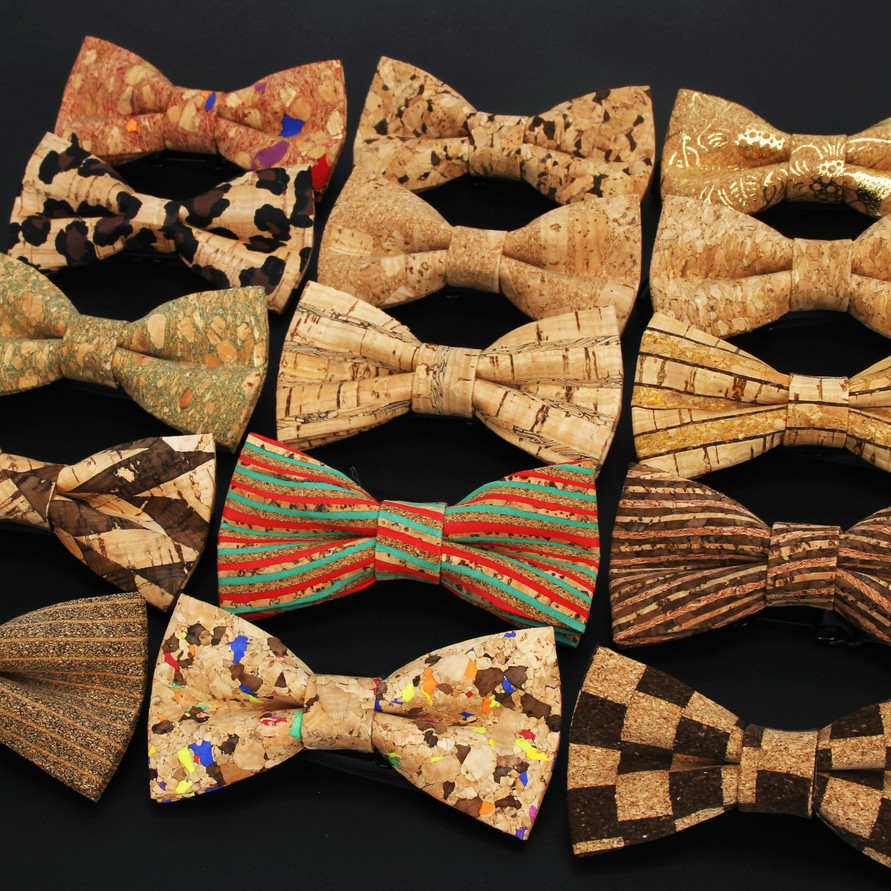 New Fashion Cork Wood Kids Luxury Bow Ties Novelty Handmade Solid Neckwear For Mens Wedding Party Man Gift Accessories Tie