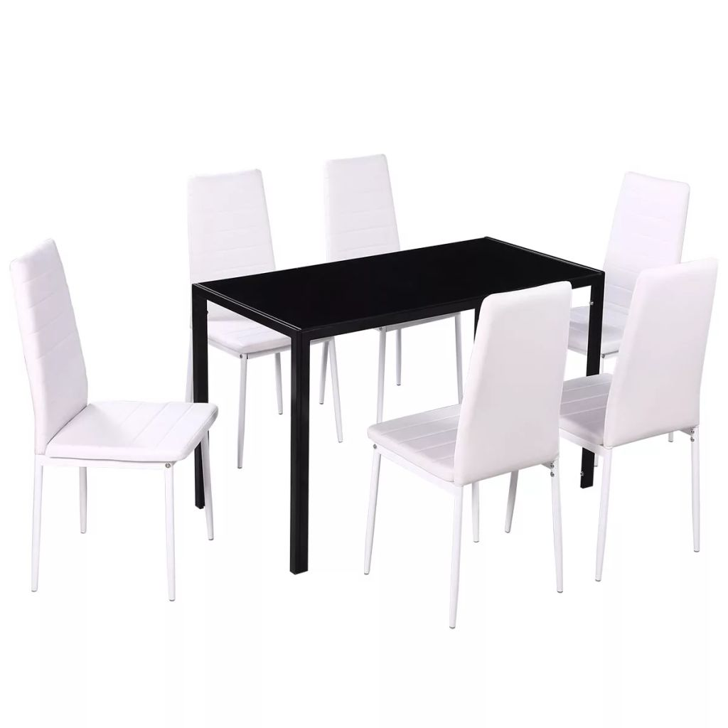 Seven Piece Dining Table and Chair Set Black and White 2