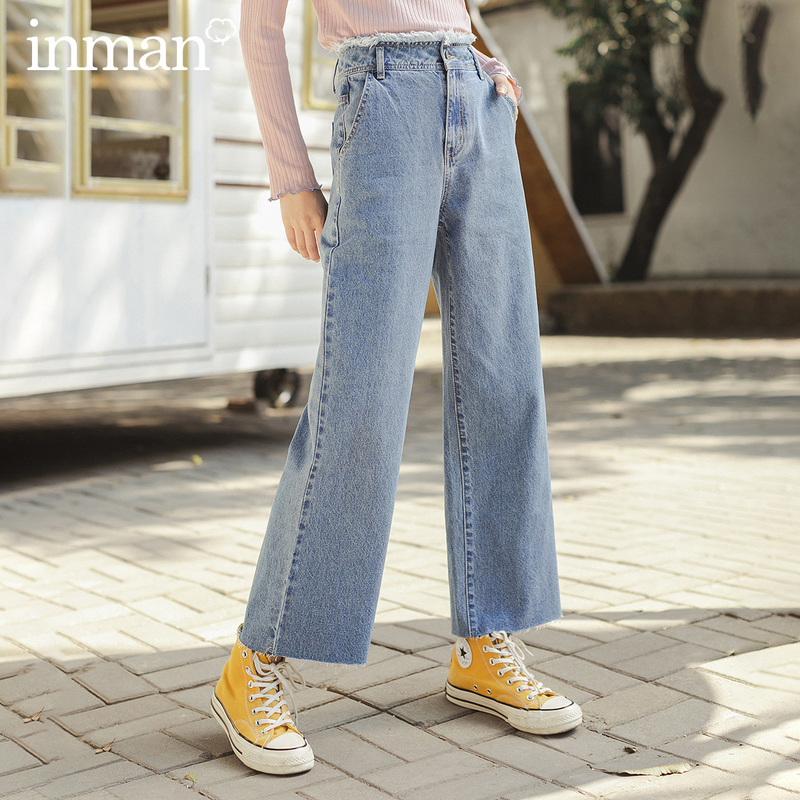 INMAN 2020 Spring New Arrival Literary High Waist Straight Cylinder Loose Port Style Pants Jeans