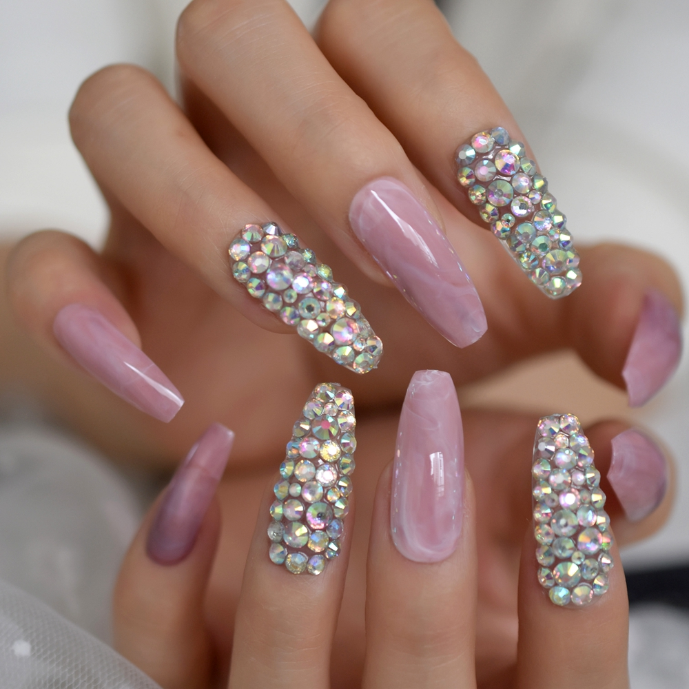 Gorgeous Rhinestone Decorative Fake Nails Marble Pink Grey AB Crystal Press On Nail Customize 24pcs