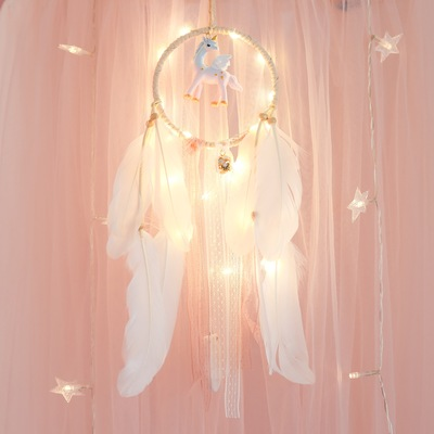 Girl Heart Dream Catcher Feather Ornaments Lace Ribbons Feathers Wrapped Lights Girls Room Decor Dreamcatcher romatic catchers