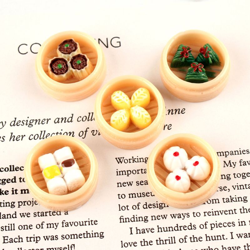 30Pcs 3D Steamed Dumplings Resin Flatback Cabochons DIY Jewelry Accessory Charms
