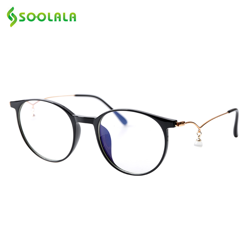 SOOLALA Pearl Anti-Blue Light Reading Glasses Womens Eyeglasses Frame Computer Blue Light Blocking Presbyopic Reading Glasses