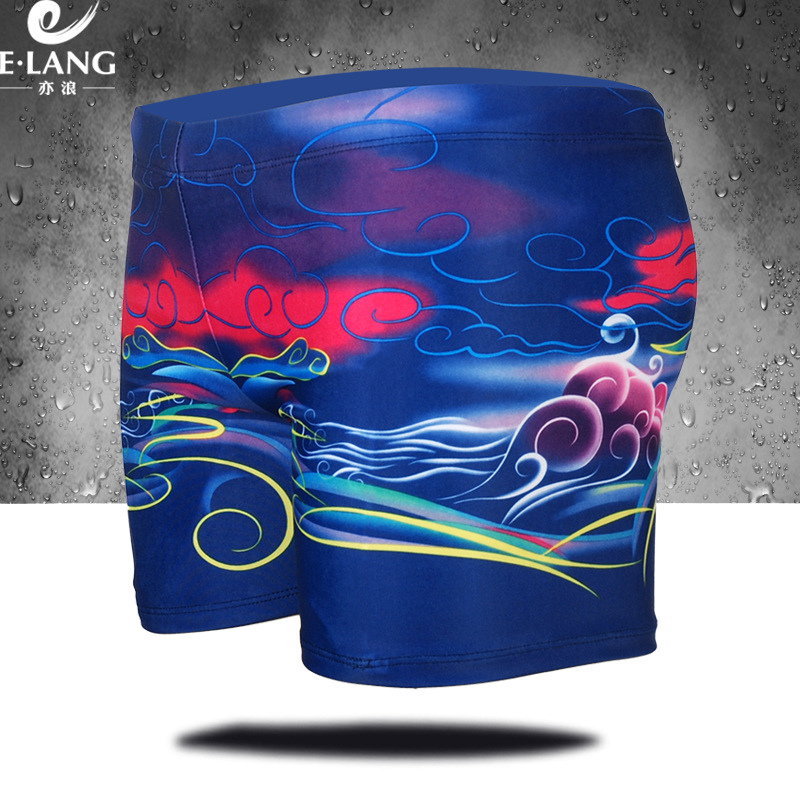 MEN'S Swimming Trunks Digital Printing Fashion Sexy Conservative Medium Waist Plus-sized Boxer Loose-Fit Hot Springs MEN'S Swimm