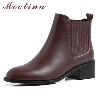 Meotina Winter Chelsea Boots Women Natural Genuine Leather Thick Heel Ankle Boots Slip on Round Toe Shoes Lady Autumn Size 34-39