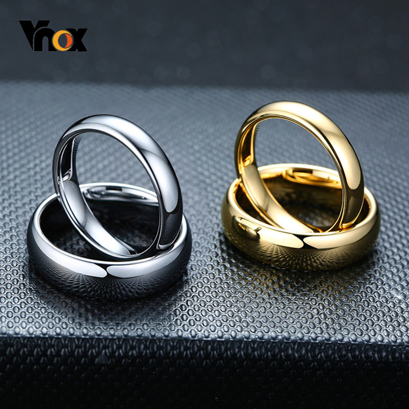 Vnox Anti Scratch Tungsten Wedding Rings for Women Men Simple Classic Wedding Bands for Couples Basic Jewelry