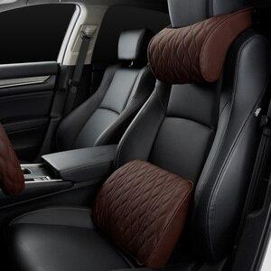 Image 2 - Almohada de espuma viscoelástica para reposacabezas de coche, juegos de soportes de asiento bordados de cuero, ajuste de cojín trasero, almohadas lumbares de descanso del cuello automático