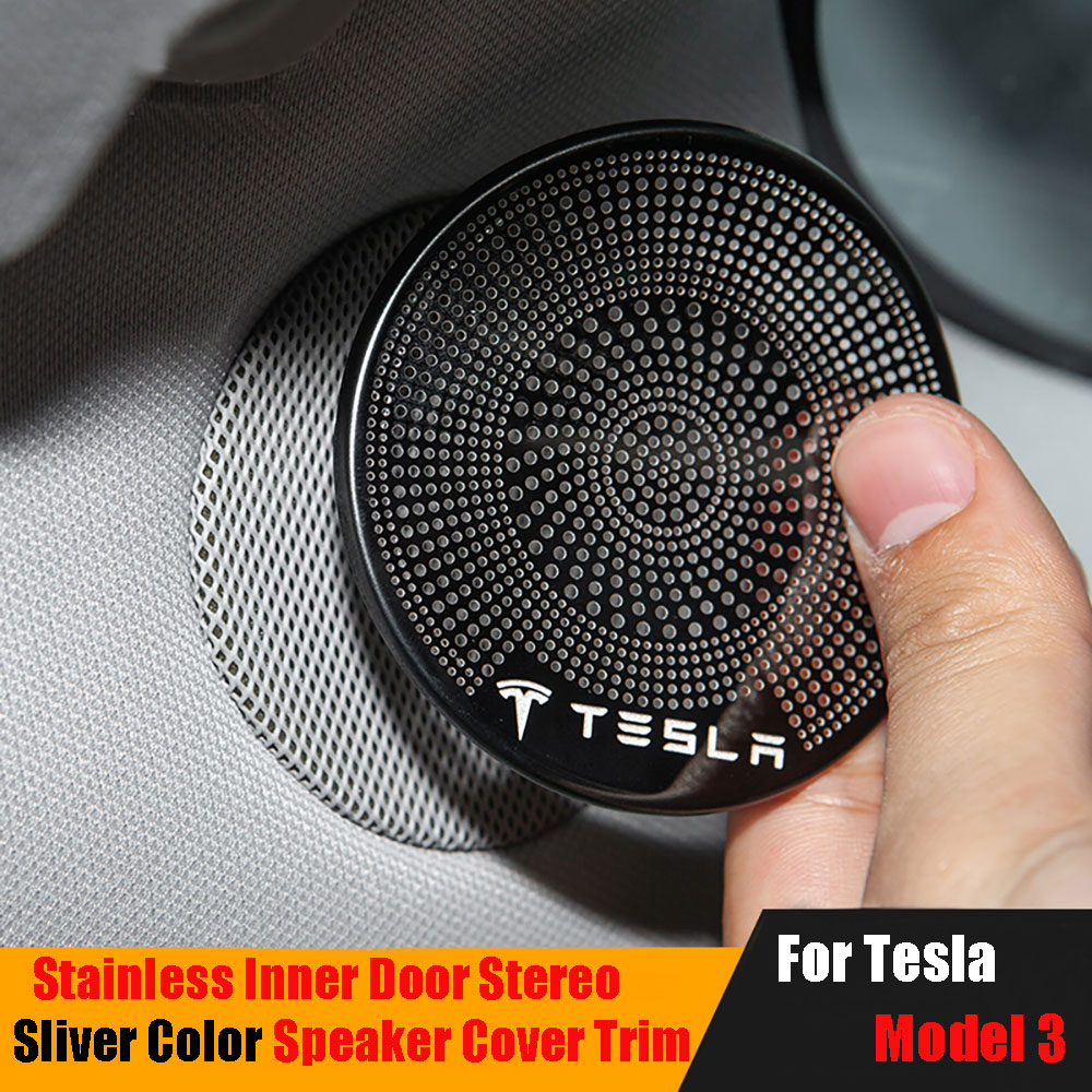 2PCS Black Stainless Inner Door Stereo Speaker Cover Trim For Tesla Model 3 2017-2020