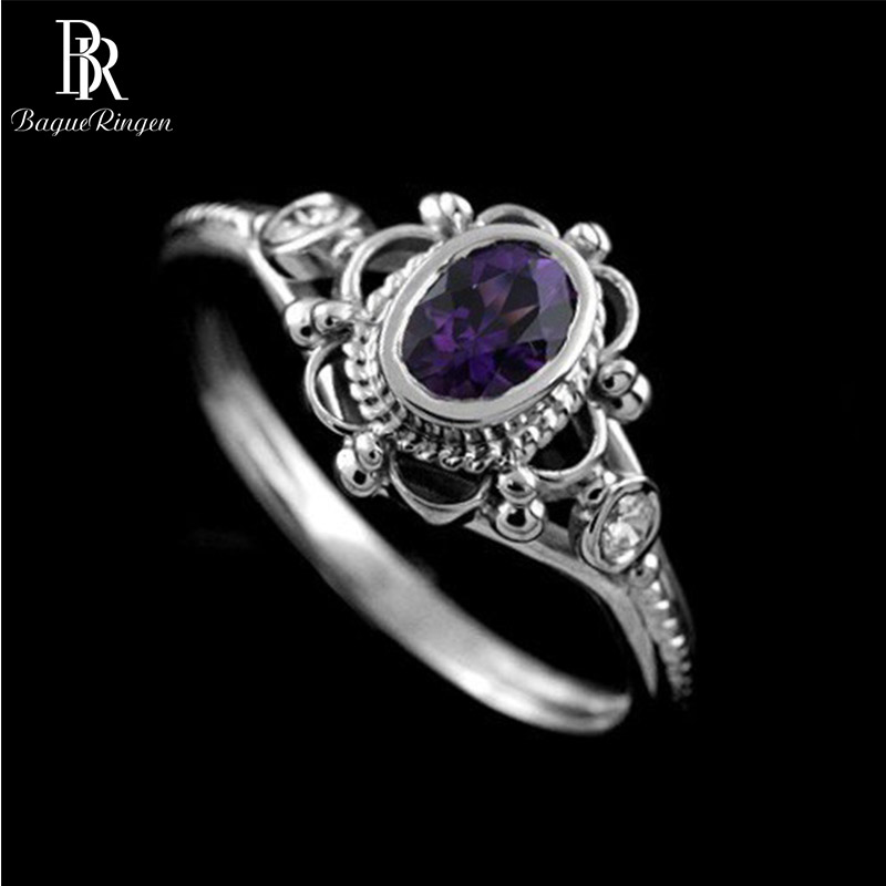 Bague Ringen Vintage Design Thai Silver Fine Jewelry Oval Gemstones S925 Rings For Women Ruby Amethyst Female Engagement Ring