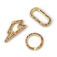 Ocerio diy pingente duplo-face cor zircônio relâmpago decoração para correntes de malha gótico jóias fazendo suprimentos cspa006