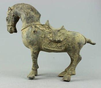 Collectible antique Decorated Old 270 year Handwork Bronze sculpture Horse statue