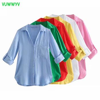 VUWWYV Za biała koszula kobieta różowa zapinana koszula damska zielona bluzka z długim rękawem kobieta lato 2021 elegancka koszula z kołnierzykiem tanie i dobre opinie CN (pochodzenie) Linen POLIESTER REGULAR Z KIESZENIAMI STANDARD Z bawełny i lnu Proste Women Shirt A31145 z włókien syntetycznych