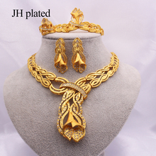 Jewelry sets Dubai gold African Indian bridal wedding gifts for women Necklace Bracelet earrings ring jewelery Ethiopia set bright dubai jewelry sets blue african costume jewelry sets indian beads necklace set christmas boutonniere bridal party gift