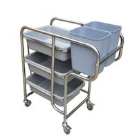 H1 Receiving Car Receiving Car Restaurant Trolley Stainless Steel Kitchen Hotel Tableware Waste Cans Receiving Cheap