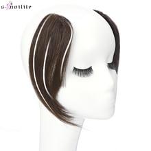 S-noilite 2pcs Natural Hair Bangs Fringe Human Hair Left Right Hair Extensions 16g Black Hairpiece Bangs Wig Human Hair Clip