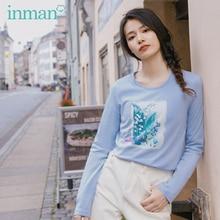 をインマン 2020 春の新到着純粋で新鮮なラウンド襟プリント刺繍綿長袖 tシャツ女性