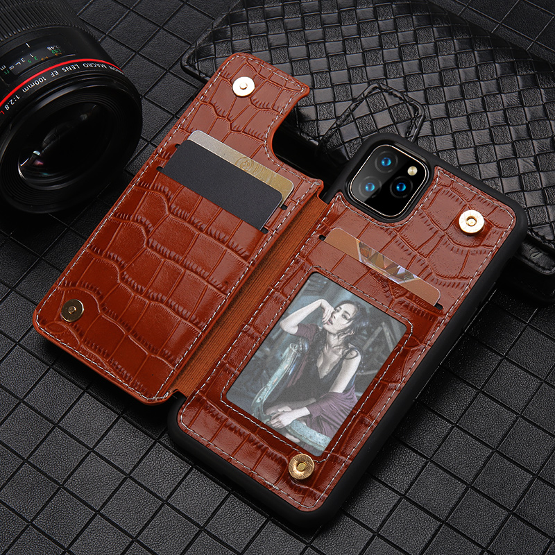 Genuine Leather Phone Wallet Case For Apple IPhone 11 11 Pro Max X XS Max XR 7 8 6 6s 7 Plus 8 Plus Card Slot Rivets Back Cover