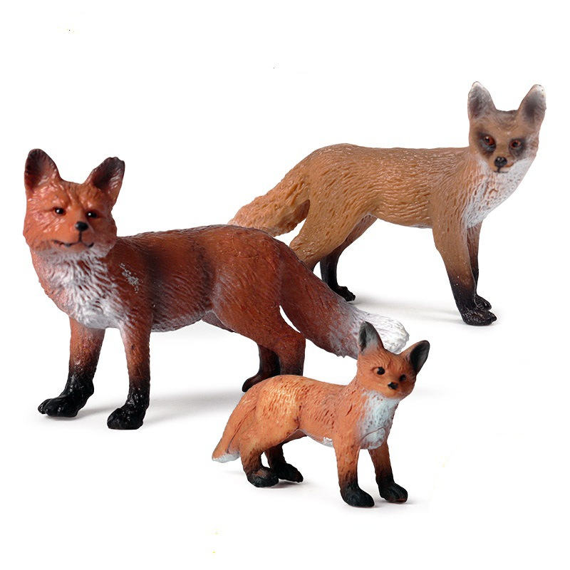 Foxes Animal Figure Collectible Toys Wild Animal Action Figures Kids Plastic Cement Toys