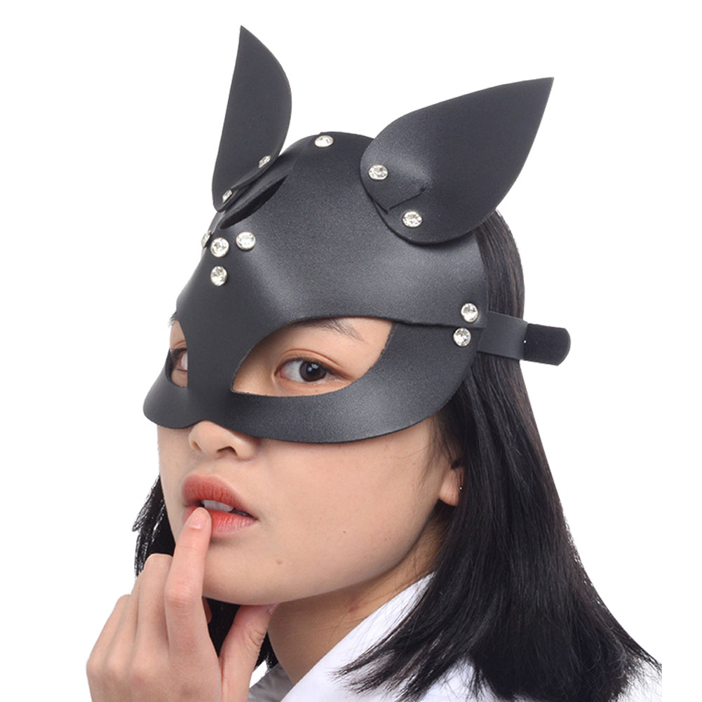 Festival Halloween <font><b>Mask</b></font> Dress Up Masquerade Costume Prop Adults PU Leather Non Toxic Cosplay Adjustable Handmade <font><b>Cat</b></font> Head <font><b>Sexy</b></font> image