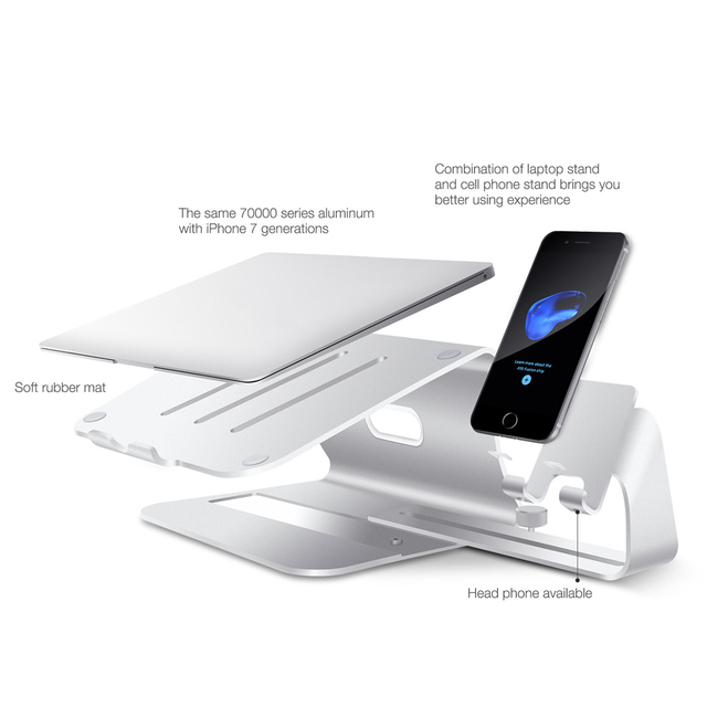 Laptop Stand for MacBook Pro Base Notebook Support Holder Tablet Bracket Laptop Cooling Riser Accessories Desk With Phone Holder