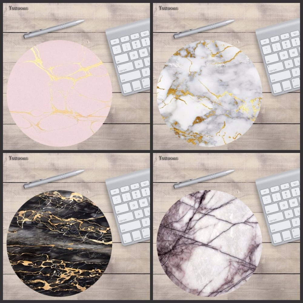 Yuzuoan Rose Gold Pink On Marble New Small Size Round Mouse Pad Non-Skid Rubber Pad 200X200X2mm And 220X220m For Laptop Notebook