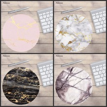 Yuzuoan Rose gold Pink on Marble New Small Size Round Mouse Pad Non Skid Rubber Pad