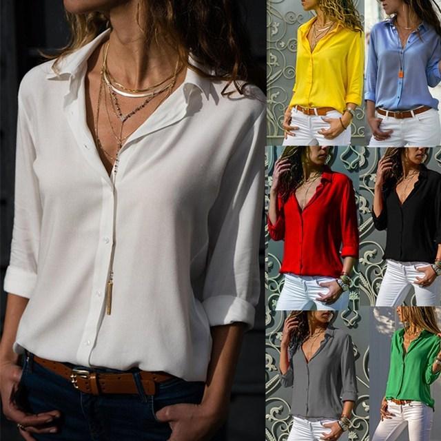 Women White Blouses Basic Selling Button Solid 2019 Autumn Long Sleeve Shirt Female Chiffon Women's Slim Clothing Plus Size Tops 2