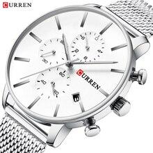 CURREN Mens Wrist Watches Simplicity Modern Quartz Watch Stainless Steel Chronograph Calendar Montre Homme 2019 Reloj De Hombre