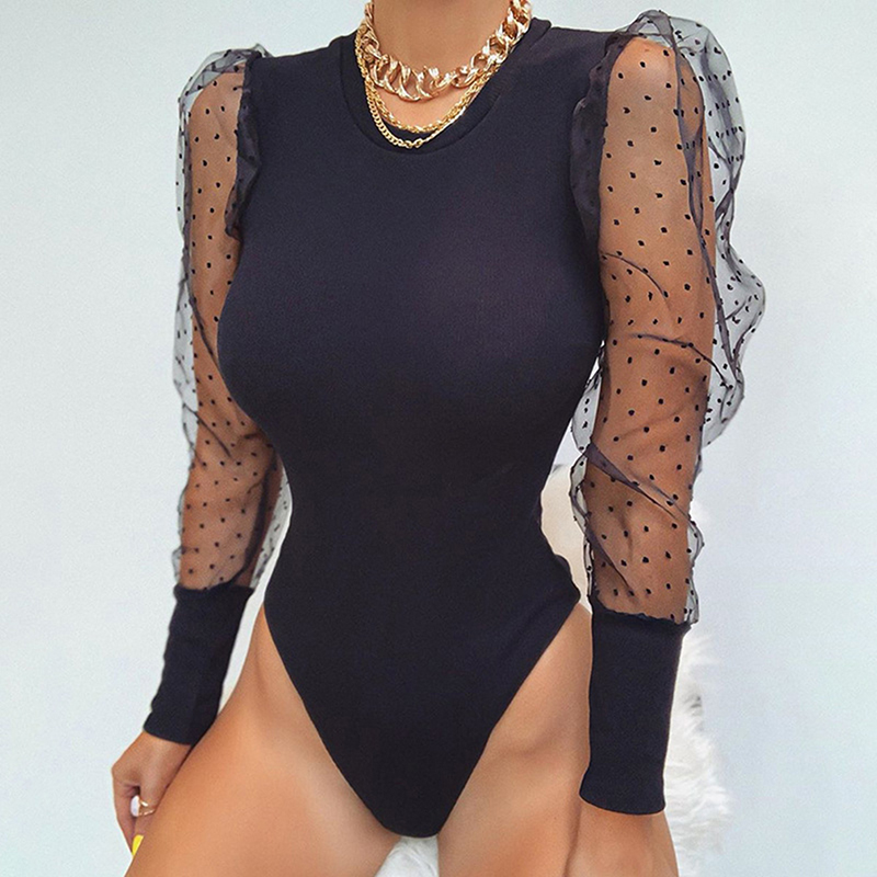 Brand New Lace Puff Sleeve Women's Bodysuit Autumn Long Sleeve Polka Dot Vintage Bodycon Jumpsuit Tops Skinny Mesh Bodysuits