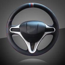Hand Sewing Auto Steering Wheel Cover for Honda Fit 2009 2013 City Jazz Braid On The Steering Wheel Cover Interior Accessories