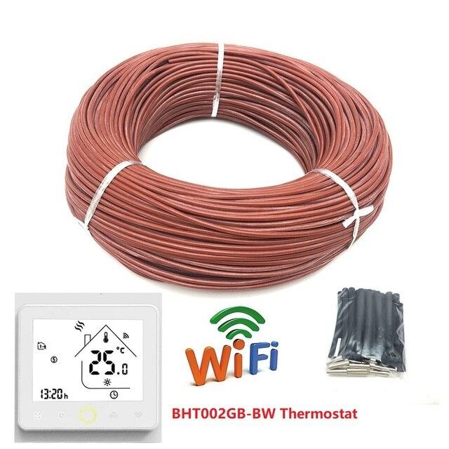 100m Infrarot Heizung Kabel 12K 33ohm/m Silikon Carbon Faser Heizung Draht für Warmen Boden mit Temperatur controller Thermostat