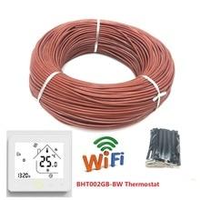 Cable de calefacción infrarrojo de 100m, 12K, 33ohm/m, Cable de calefacción de fibra de carbono de silicona para suelo cálido con controlador de temperatura y termostato