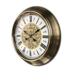 Europejski Retro zegar ścienny metalowe złoto Vintage duże zegary ścienne Home Decor amerykański dom salon cichy salon Metal 50