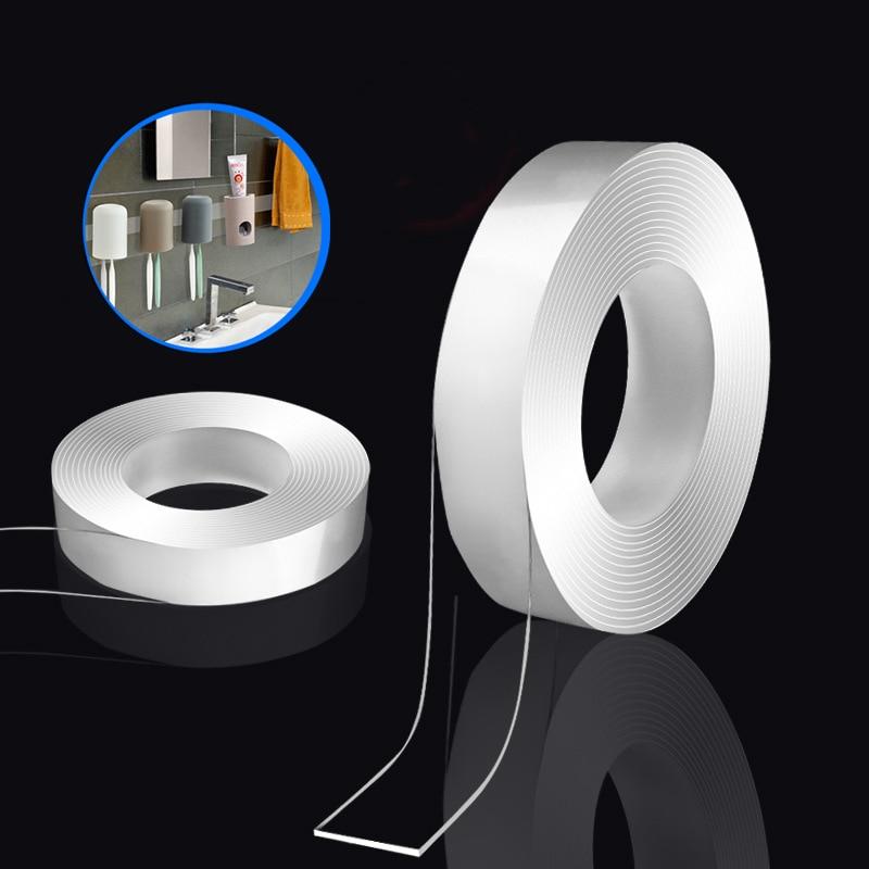 1M 3M 5M Nano Magic Tape Reusable Traceless Double Sided Tape Nano Tape Washable Adhesive Super Fix Removable Sticker Home Tool(China)