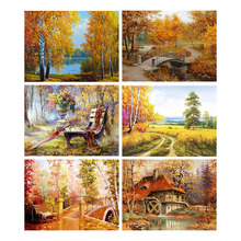 Full Square Diamond Painting Tree Cabin Scenery Mosaic Landscape Picture Rhinestone Home Decor