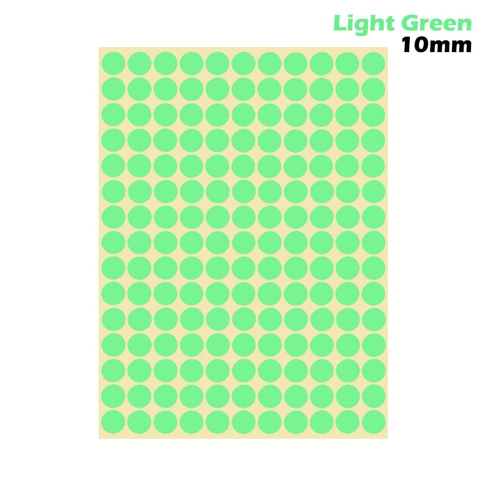 1 лист 10 мм/19 мм цветные наклейки в горошек круглые круги точки бумажные клеящиеся этикетки офисные школьные принадлежности - Цвет: light green 10mm