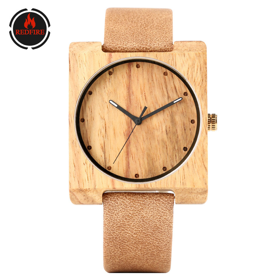REDFIRE Zebra Wood Watch Lady Wooden Watches Square Wooden Case Simple Round Dial Elegance Girls Genuine Leather Wristwatch