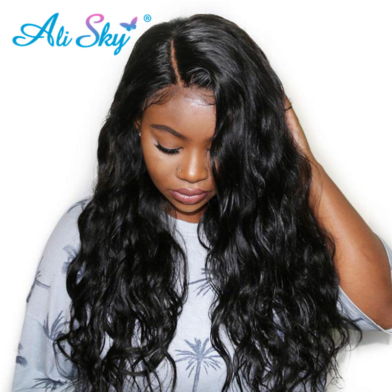 Ali Sky Hair Brazilian Body Wave Wigs For Women 13 *4 Lace Front Human Hair Wigs Natural Color Glueless Remy Hair 150% Density