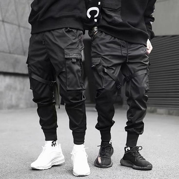 Multi-pocket Elastic Waist Pants Men Streetwear  1