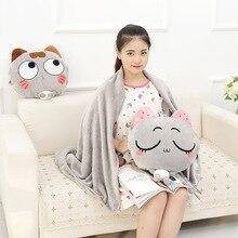 цена на Creative Cute Silly Cat Plush Pillow Doll Cartoon Cat Air Conditioning Blanket Birthday Gift
