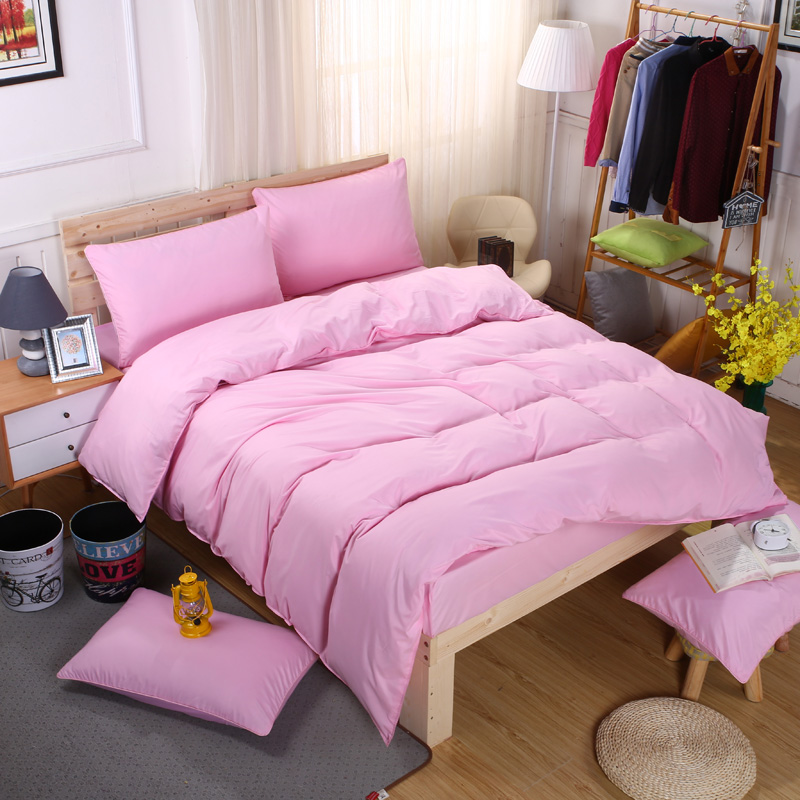 Classic Simple Solid Color Bedding Sets King Queen Full Twin Size Pure Pink Duvet Cover Flat Sheet Pillowcase(s) Set 3/4PCs