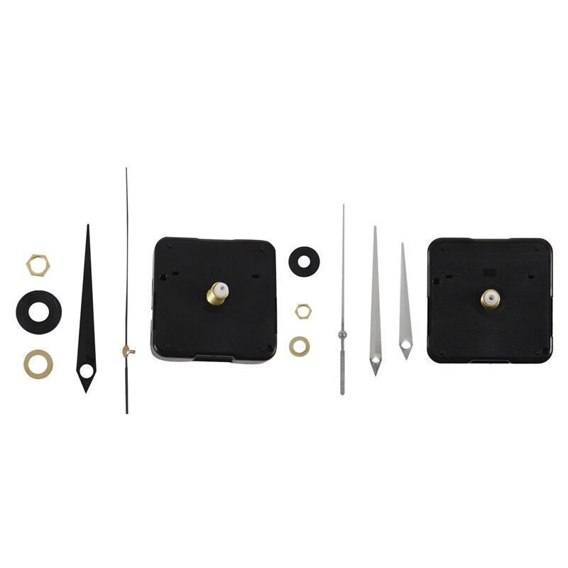 2pcs DIY High Torque Clock Mechanism, 3/ 10 Inch Maximum Dial Thickness, 4/ 5 Inch Total Shaft Length (Black/White)