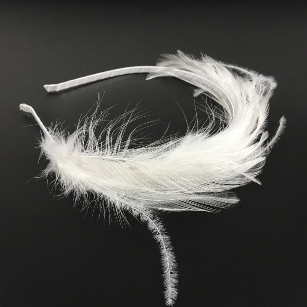 Headwear Hair Accessories Fascinator White  Headband For Girls  Feather Headband Women Festival Hairband Feather Hair Hoop