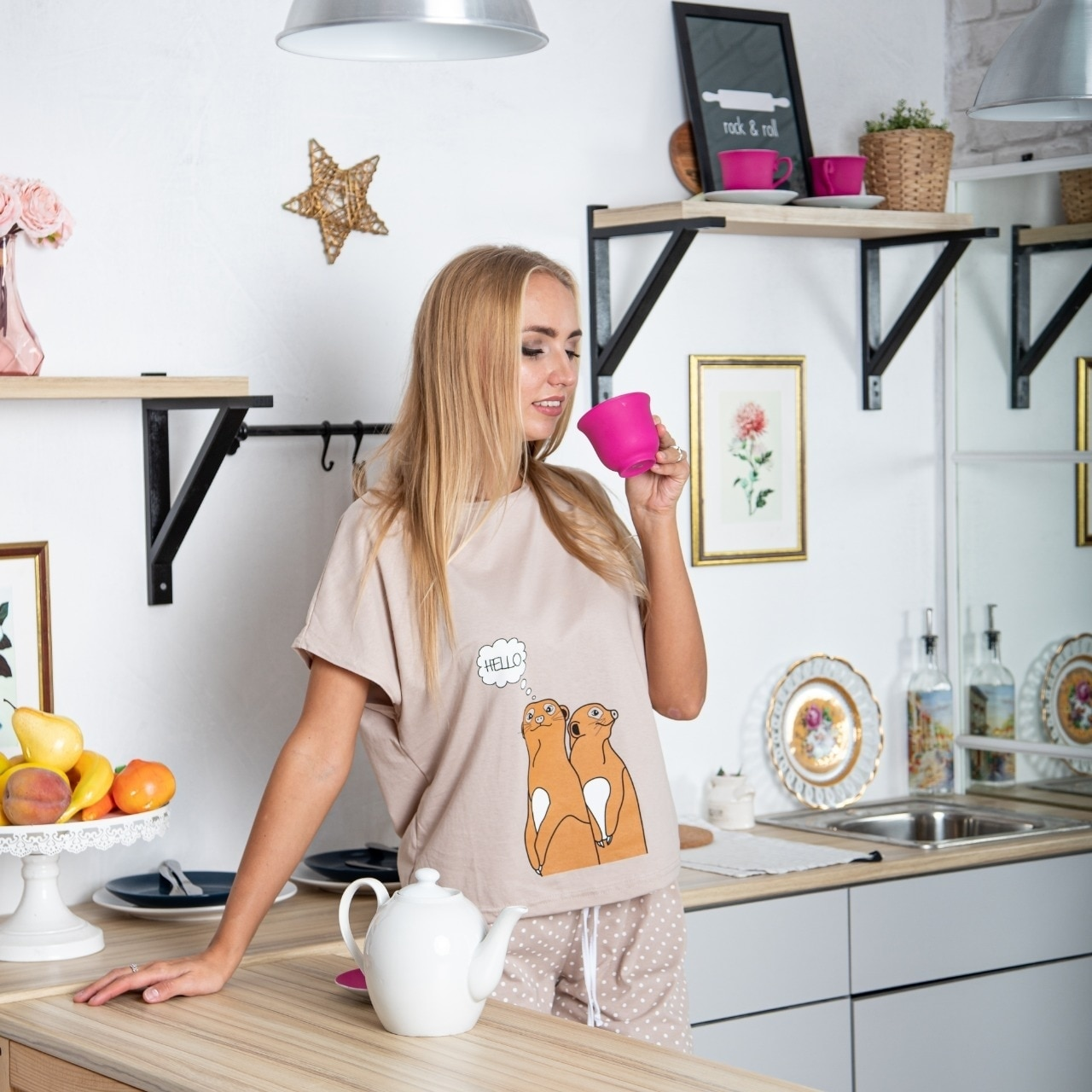Atoff home pajamas female ZHP 010/1 (beige/Gray)|Pajama Sets| - AliExpress